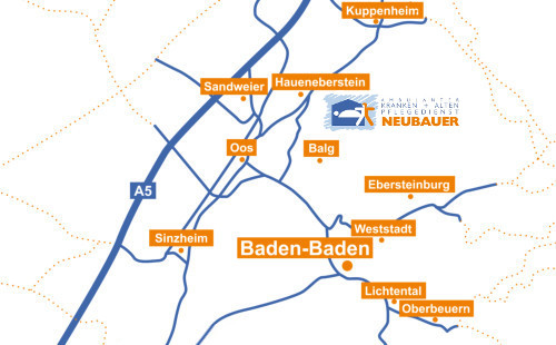 Einzugsgebiet Pflegedienst Neubauer Baden-Baden